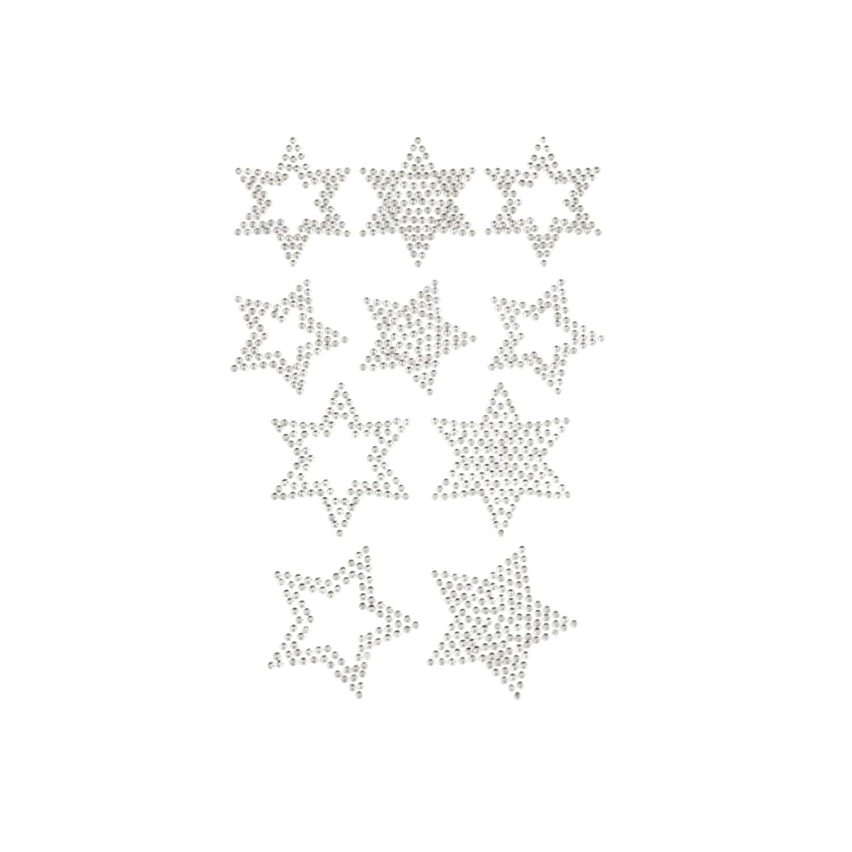 10 Sterne Sticker Strass Steine für Weihnachten Weihnachtsdeko - silber