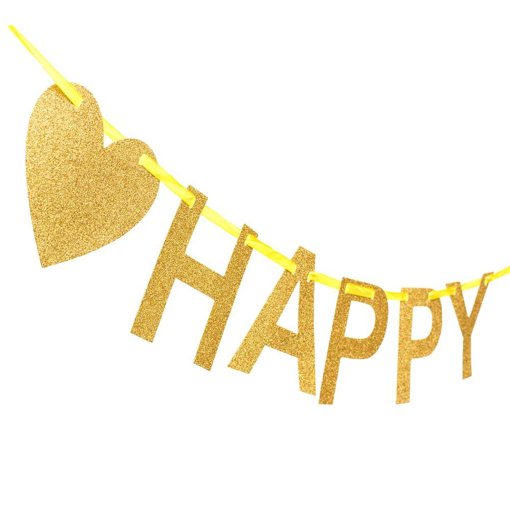 happy 50 girlande banner geburtstag goldene hochzeit birthday gold. Black Bedroom Furniture Sets. Home Design Ideas