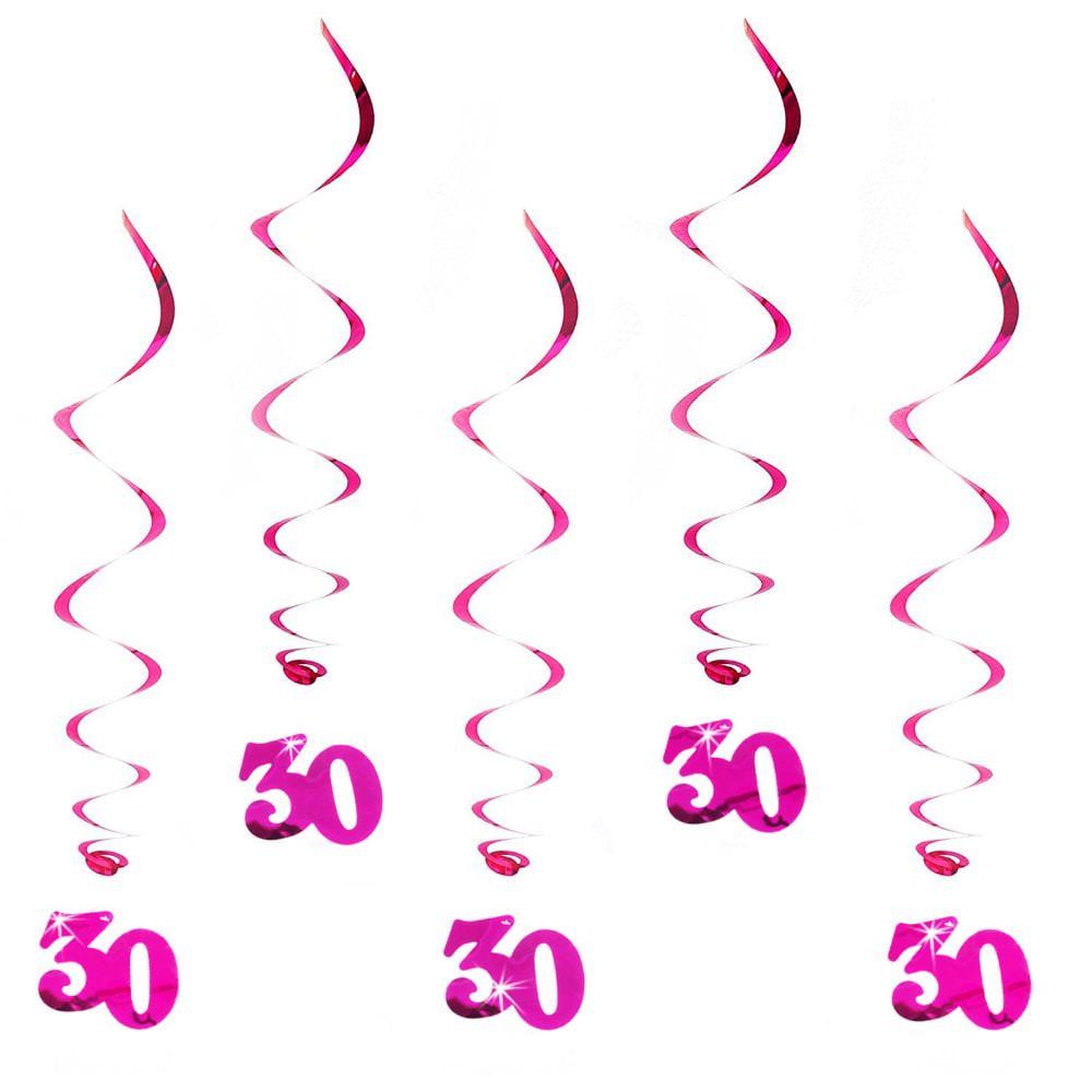 Wirbel Deckenhänger 30. Geburtstag mit Bändern und Ösen - pink