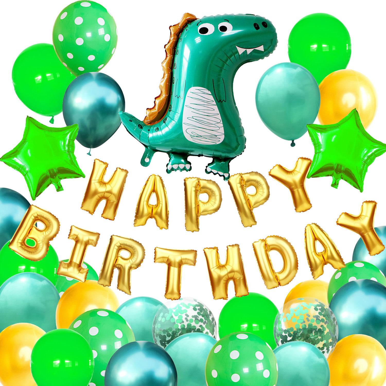 Happy Birthday Geburtstag Deko Set   Dino + Stern Luftballons + Happy  Birthday Folienballon Girlande