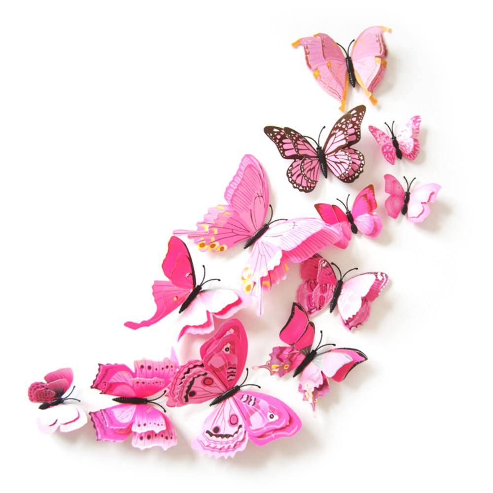 3d schmetterlinge 12er set wandtattoo wandsticker wanddeko rosa - Wanddeko schmetterlinge 3d ...