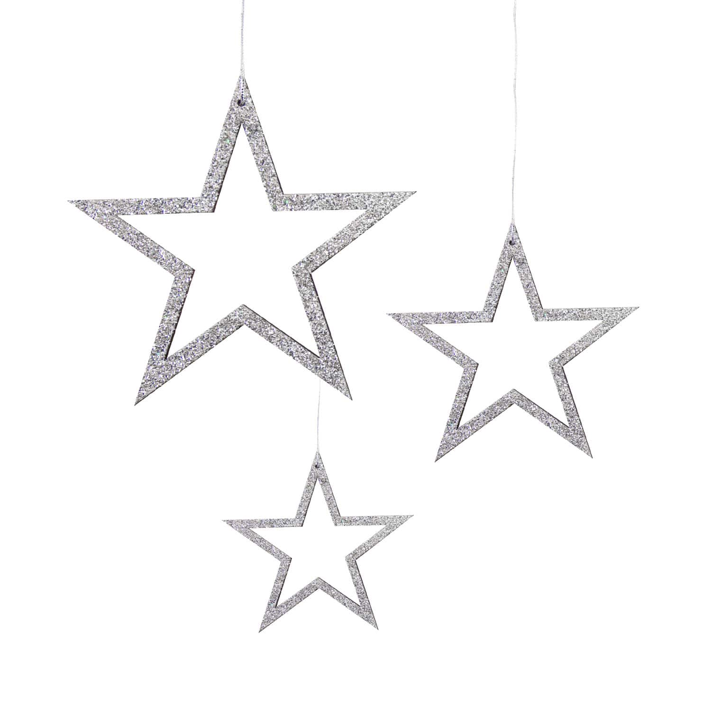 3 Holz Sterne Mit Glitzereffekt Schnur Weihnachtsdeko Weihnachtsbaum Anhänger Weihnachten Silber