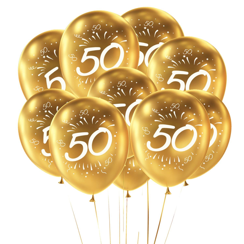 10x Luftballons Zahl 50 Geburtstag Jubiläum Goldene Hochzeit Party Ballons Gold