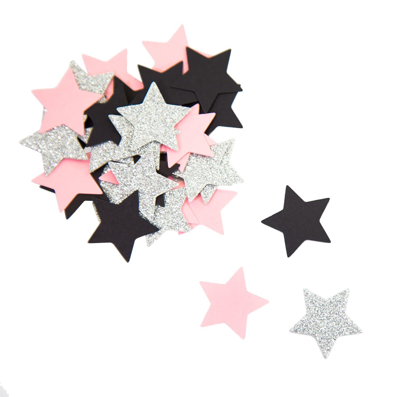 Papier Konfetti Sterne 36 Stk Tischdeko Hochzeit Jga Rosa Schwarz