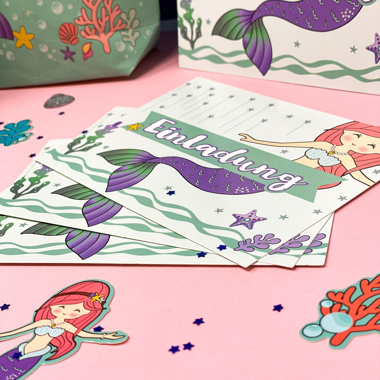 6 meerjungfrau einladungskarten kindergeburtstag mädchen