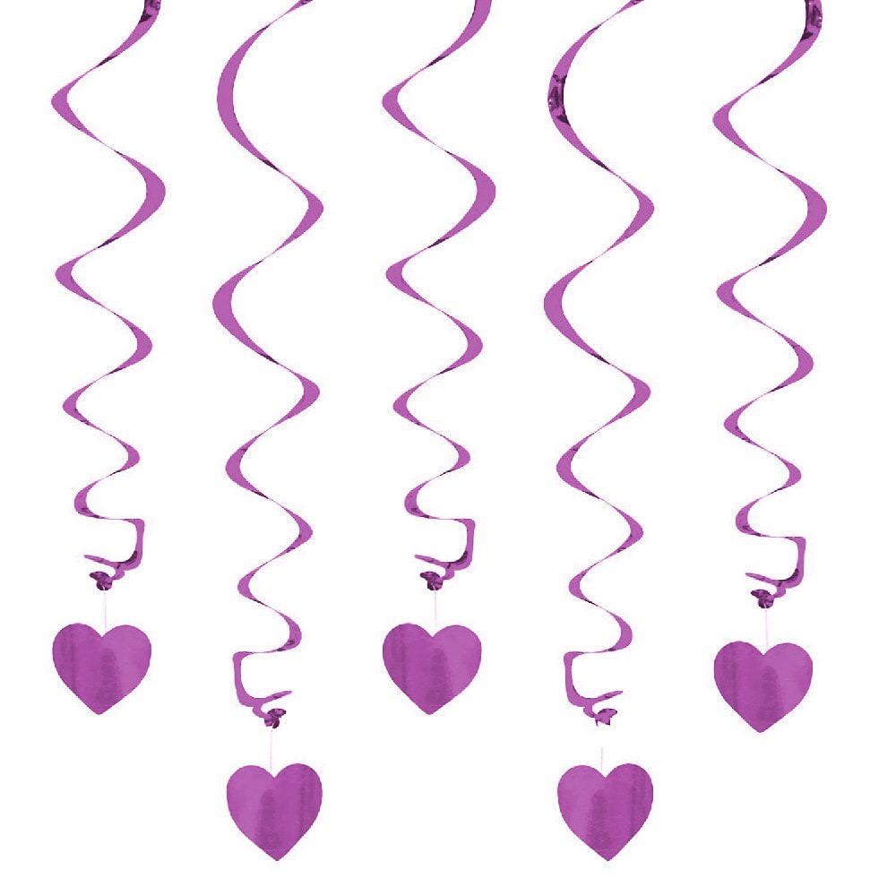 5 Girlande Spiral Deckenhanger Mit Herz Lila