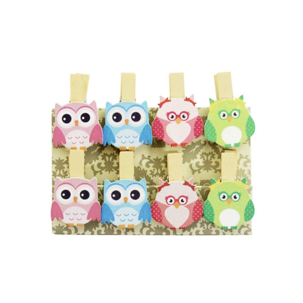 8 Mini Wascheklammern Holz Miniklammern Deko Klammern Eulen 2