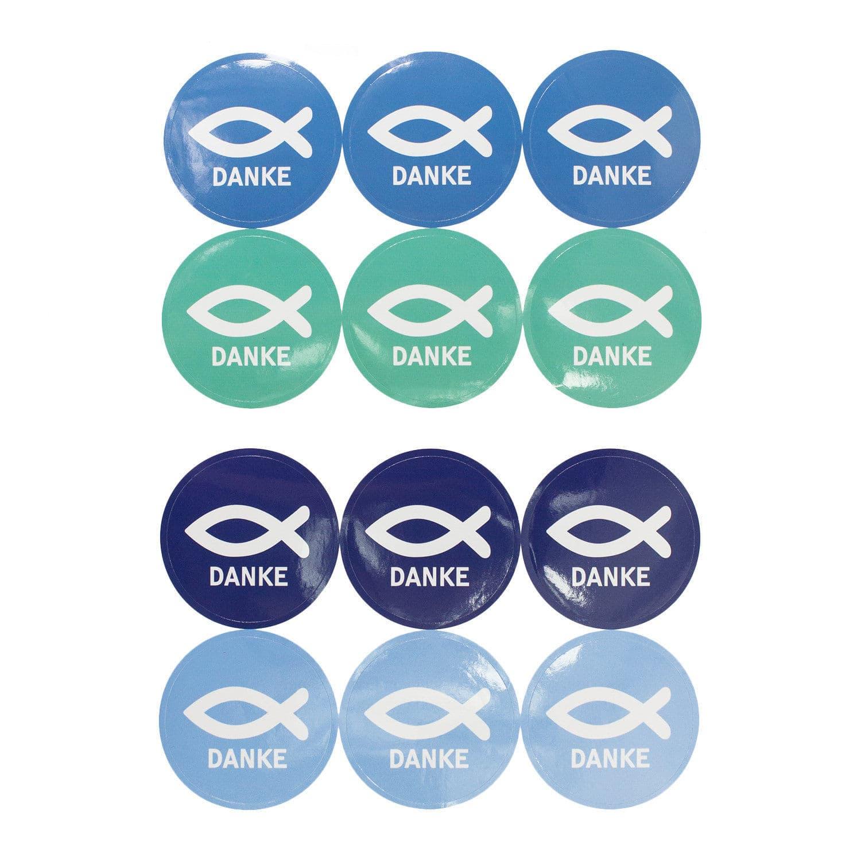 24 Fisch Sticker Danke Aufkleber Kommunion Taufe Konfirmation Firmung Hochzeit
