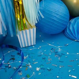 3 Lampions Papierlaterne Papierlampen Lampenschirme Hochzeit Deko blau