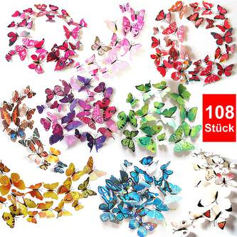 3D Schmetterlinge 108er Set Wandtattoo Wandsticker Wanddeko - bunt