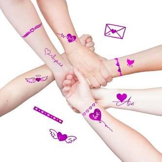 Temporäre Klebetattoos Tattoo Set Herzen mit Glitzereffekt JGA pink