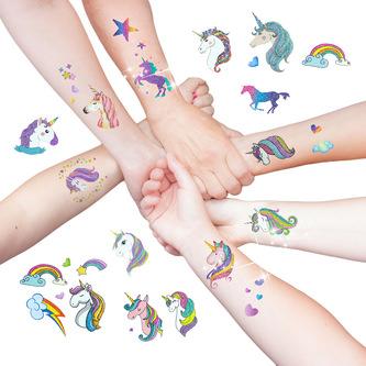 Einhorn Regenbogen Tattoo Set 16 Stk. mit Glitzereffekt Deko Kinder