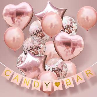 Candybar Girlande Hochzeit Geburtstag Party Banner 1,8m - rosa gold