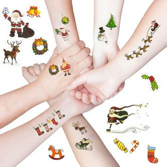 Temporäre Klebetattoos Kinder Tattoo Set 22 Stk - Weihnachten Mix
