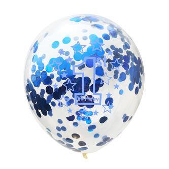 10x Konfetti Luftballons für 1. Geburtstag 1st Birthday Ballons blau