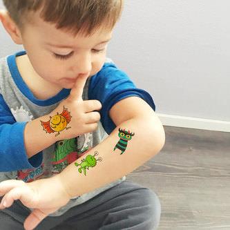 Temporäre Klebetattoos Kinder Tattoo Set - 24 Monster Motive