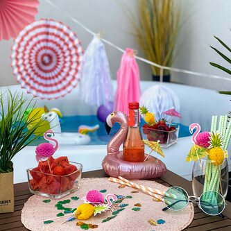 Strohhalme Trinkhalme Geburtstag Party Hochzeit JGA Deko - rosa weiß