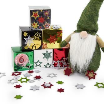 24 Filz Sterne Weihnachtsdeko Tischdeko Weihnachten 3 Motive -weißgrau