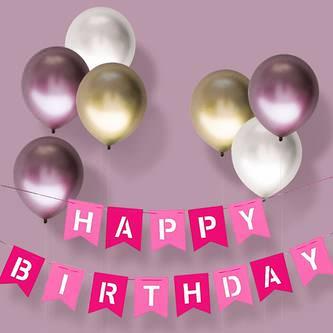 Happy Birthday Girlande Banner aus Filz Geburtstag Party - pink rosa