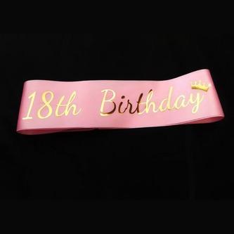 Schärpe 18 Geburtstag 18th Birthday 18. Jubiläum Party Feier rosa