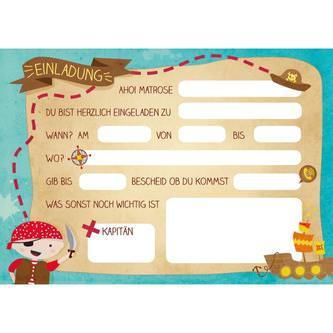 6 Einladungskarten Kindergeburtstag Piraten Party Einladungen