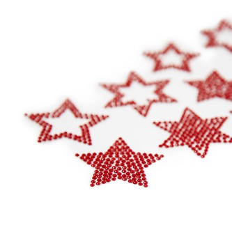 10 Sterne Sticker Strass Steine für Weihnachten Weihnachtsdeko Weihnachtssterne - rot