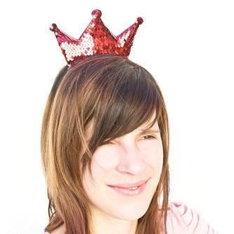 Haarreifen mit Krone Glitzer Pailletten Fasching Karneval Party rot