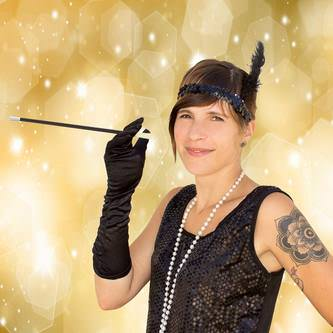 Stirnband 1920er Jahre Charleston Haarband Party Fasching - schwarz