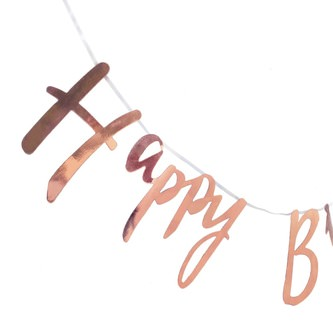 Happy Birthday Girlande Banner 1,5m Geburtstag Party Deko - rose gold