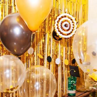 Happy Birthday Geburtstag Party Feier Deko Set - schwarz weiß gold