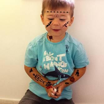 Temporäre Tattoos für Kinder Halloween Skelett Spinnen uvm - 36 Motive