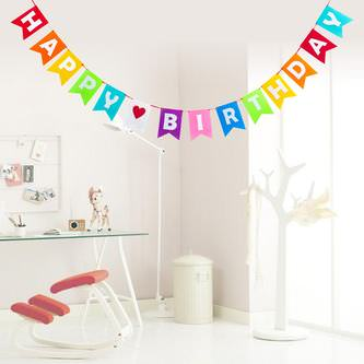 Happy Birthday Girlande Wimpel Banner Filz 3m Geburtstag Party - bunt