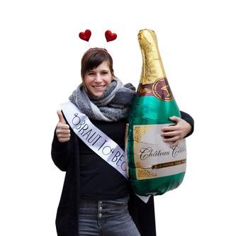 Folien Luftballon Champagner Sekt Flasche JGA Hochzeit Geburtstag Party Deko
