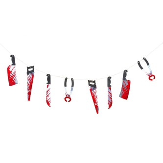 Halloween Girlande blutige Messer Säge Zange Deko
