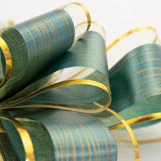 Geschenkschleife Deko Schleifen für Geschenke uvm - grün gold
