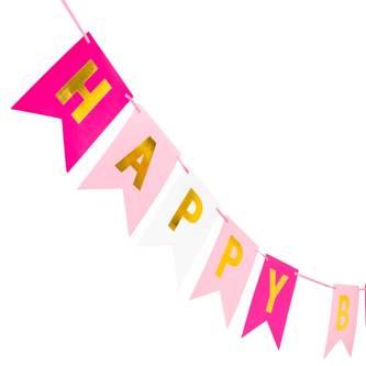 Happy Birthday Girlande Banner 2m Geburtstag Party Deko - pink rosa