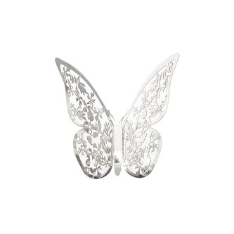 3D Schmetterlinge 12er Set glänzend Wandtattoo Wanddeko - silber