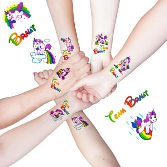 Braut Einhorn Tattoo Set Team Braut JGA Sticker lustige Einhörner
