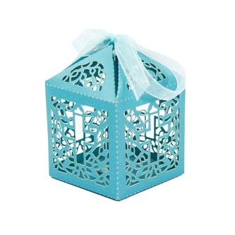 10 Deko Schachteln Boxen mit Kreuz Motiv für Taufe Kommunion Hochzeit blau