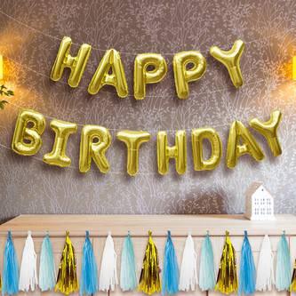 Happy Birthday Folienballon Girlande in gold Geburtstag Party Deko