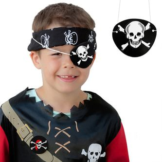 8 Piraten Augenklappen Fasching Piratenkostüm - Totenkopf