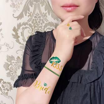 Temporäre Klebetattoos Tattoo Junggesellinnenabschied JGA türkis gold