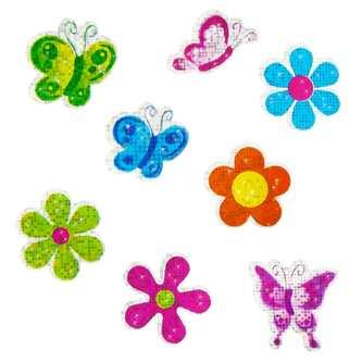 68 Sticker Aufkleber Blumen Schmetterlinge Glitzernd Kinder Bunt