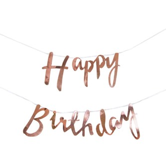 Happy Birthday Girlande Banner 1,5m Geburtstag Party Deko - rose gold