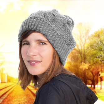 Long Beanie XXL Mütze Slouch Damen Herren Kinder Strick Winter Mütze - grau