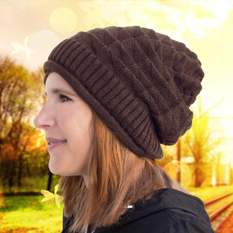 Long Beanie Mütze XXL Damen Herren Kinder Winter Mützen - brown