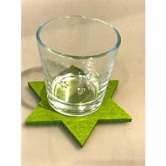 4 Filz Untersetzer Sterne Glasuntersetzer Weihnachtsdeko Adventsdeko - grün