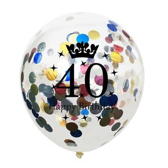 10x Konfetti Luftballons Zahl 40 Geburtstag Happy Birthday 40 Ballons