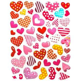 520 Herz Sticker Herzen Aufkleber Glänzend Scrapbooking - bunt