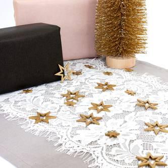 Tischläufer mit Spitze und Blumen Tischdeko Weihnachten Hochzeit Party